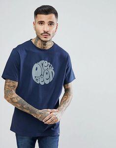 Pretty Green Short Sleeve Jersey Logo T-Shirt In Navy - Navy