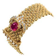 1950s VAN CLEEF & ARPELS 18K Gold Diamond Ruby Bracelet