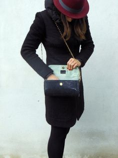 Nero Brillante Bag - handmade leather bag