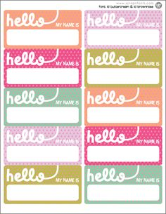 I have almost no auditory memory, so I'm terrible with remembering names when people tell me them, but great with name tags. I have almost no auditory memory, so I'm terrible with remembering names when people tell me them, but great with name tags. Printable Name Tags, Printable Labels, Printable Paper, Name Tag Templates, Templates Printable Free, Free Printables, Filofax, Envelopes, Name Labels