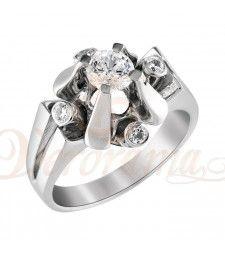 Μονόπετρo δαχτυλίδι Κ18 λευκόχρυσο με διαμάντι κοπής brilliant - MBR_097