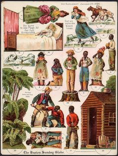This is an variety of paper dolls for children depicting scenes from the literary classic Uncle Tom's Cabin by Harriet Beecher Stowe. It is very interesting to see such a painful part of American History so starkly reproduced. Old Paper, Paper Art, Paper Crafts, Diy Crafts, Vintage Paper Dolls, Vintage Toys, Retro Toys, Uncle Toms Cabin, Toy Theatre