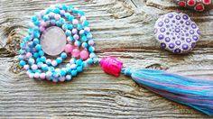 Mala, 108 Bead Mala with 3 marker beads , Buddha Mala, Rose Quartz Mala, Blue & Pink Mala, Heart Chakra Mala, Buddhist Mala, Mala 108, Malas by MysticKeyMeditations on Etsy