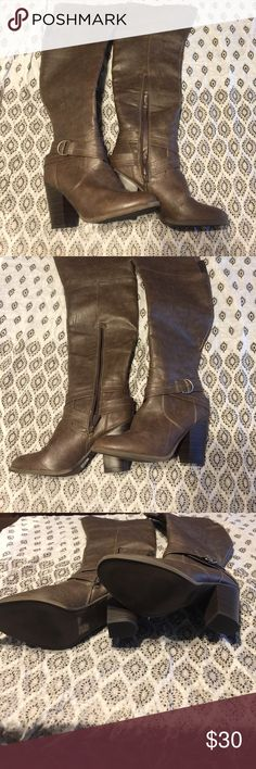 Sexy over the knee boots These boots are so cute! They have a nice size heel and go over the knee. Worn only once. The Red Dress Boutique Shoes Over the Knee Boots