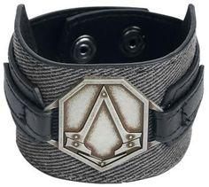 Oryginalna bransoletka Assassin's Creed - Metal Badge   Detale: - logo metalowe - zamknięcie: zatrzaski  - długość regulowana w 2 zakresach (1. zatrzask - obwód wewnętrzny: 19 cm, 2. zatrzask - obwód wewnętrzny: 21 cm) - długość: 25,5 cm, szerokość: 5 cm, głębokość: 0,4 cm  Jeżeli chcesz podnieść swoje umiejętności na wyższyu poziom, spraw sobie bransoletkę Assassin;s Creed - Syndicate - Metal Badge.