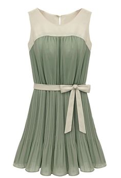 Green Sleeveless Self-tie Pleated Chiffon Dress