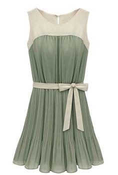 Green Sleeveless Self-tie Pleated Chiffon Dress - Sheinside.com