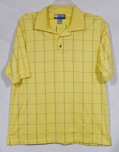 JOS. A. BANK LEADBETTER GOLF Mens Yellow Checked Polo Shirt Large 100% Cotton #JosABank #PoloRugby