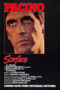 High resolution official theatrical movie poster ( of for Scarface Image dimensions: 2012 x Directed by Brian De Palma. Starring Al Pacino, Steven Bauer, Michelle Pfeiffer, Mary Elizabeth Mastrantonio Scarface Film, Scarface Poster, Scarface 1932, Al Pacino, Hd Movies, Movies And Tv Shows, Movie Tv, Plane Movies, Minimalist Movie Posters