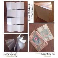 Learn how to make this mini notebook with one sheet of prineter paper, Come Away with Me, and this great tutorial in 4 steps by Katie! #graphic45 #tutorials