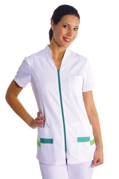€ 25,70 - Casaca Señora Cremallera Verde - 8293-873 Spa Uniform, Scrubs Uniform, Staff Uniforms, Medical Uniforms, Nurse Costume, Medical Scrubs, African Dress, Dress Patterns, Work Wear