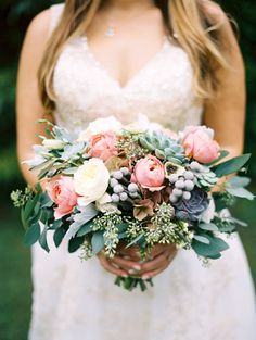 Blush And White Wedding Flowers Bouquets With Greenery Succulent Spring