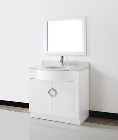 Zoe 36 White Bathroom Vanity Stone Top
