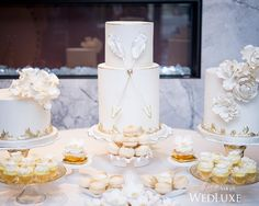 We're loving the intricate sugar flowers and gold accents on this delectable #desserttable from Sweet Sister~Chic Sister   Photography By: Amsis Photography   WedLuxe Magazine   #WedLuxe #Wedding #luxury #weddinginspiration #luxurywedding #weddingdessert