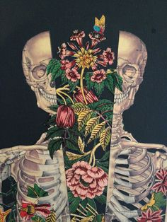 Beautiful !! growth within anatomical anatomy collage art by Travis Bedel