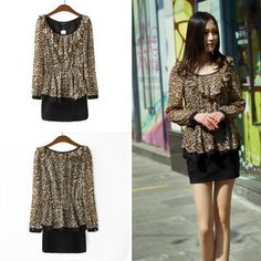 Find More Dresses Information about New Fashion 2014 Women Dress Leopard Stitching Flounced Dress Long Sleeve Women Elastic Waist Sexy Mini Casual Dress Plus Size,High Quality Dresses from meilishuo on Aliexpress.com