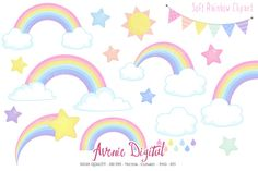 Pastel Rainbow Clipart + Vector by Avenie Digital on @creativemarket