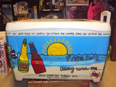 how to paint a cooler. Instead of for frat parties, we could do this as a good by gift for pack 28.  For water bottles and juice boxes!