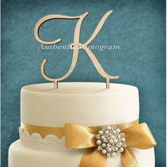 aMonogramArtUnlimited Single Letter Dollar Sign Wooden Cake Topper Color: Silver Glitter