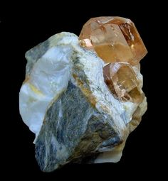 Topaz on Calcite  Katlang, Mardan District, Pakistan