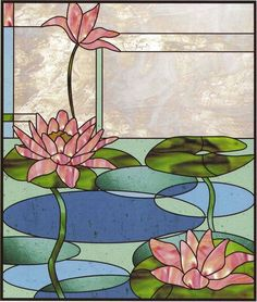 water lily stained glass - verticle