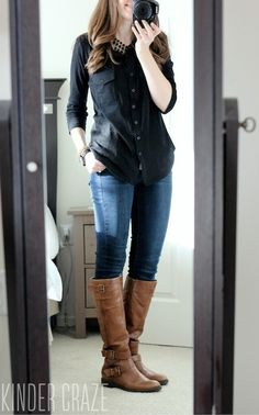 From a review. Jamie Button Down Cotton Shirt from Stitch Fix with Sophie skinny jeans fro Kensie, brown riding boots and a statement necklace #stitchfix #fashion