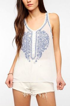 Patrons Of Peace Embroidered Linen Tank Top $49 coming soon to Apricot Lane Center Valley