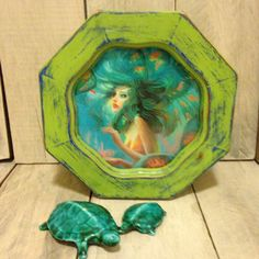 Jewelry box mermaid green wood by CestChicDesigns on Etsy