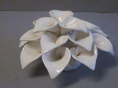 Wedding Gift Ceramic lily bouquet accent, floral decor, flower sculpture, flower bloom wall hanging, garden art, nature art