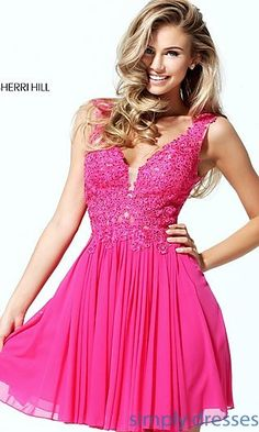Shop lace-applique short v-neck dresses and homecoming dresses at Simply Dresses. We have the best sweet-16 dresses and wedding-guest dresses here