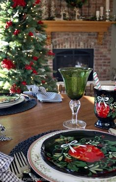 Christmas Tablescape ~ Coordinated with nearby seasonal decor.