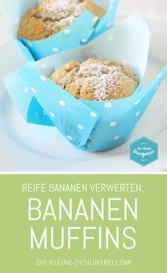 Rezept für Bananen-Muffins mit Schokostückchen. Eine tolle Idee, um reife Bananen zu verwerten.