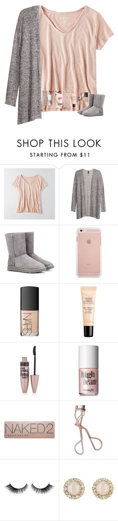 """""""Comment some active people for me to follow!"""" by tropical-girl-xo ❤ liked on Polyvore featuring American Eagle Outfitters, H&M, UGG Australia, NARS Cosmetics, Guerlain, Maybelline, Benefit, Urban Decay, Charlotte Tilbury and Kate Spade"""