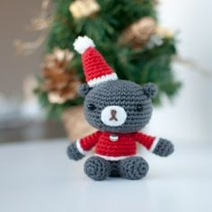 Crochet this cute amigurumi Christmas teddy. Free pattern available.