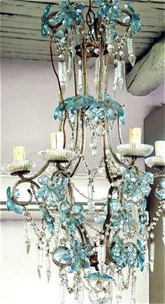 Vintage Junked Chandelier with Blue Crystal Flower Accents