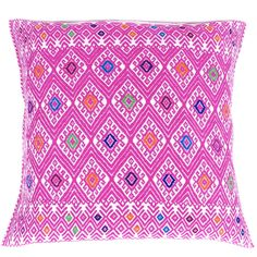 Hand-Embroidered Rose Pillow from Chiapas - Mexican Textile