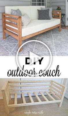 DIY-Outdoor-Couch So bauen Sie eine DIY-Outdoor-Couch für nur 30 US-Dollar … - Diyprojectgardens. Diy Furniture Cheap, Diy Outdoor Furniture, Furniture Plans, Home Furniture, Furniture Projects, Wood Projects, Backyard Furniture, Outdoor Couch, Room Decor Bedroom