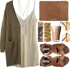 Cream slip dress, hunt green cardigan and brown bag and sandals outfit