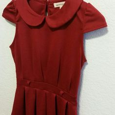 Red Peplum Blouse Monteau Red Fit And Flare Blouse. Size small. Worn once. Perfect condition. Very flattering. Monteau Tops Blouses