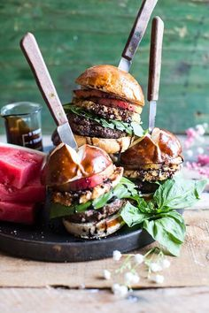 Fried Mozzarella and Caramelized Peach Caprese Burger.