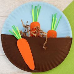Easy Crafts For Kids. Crafts That Kids And Adults Will Love To Make - Carrot in the garden craft for children Informations About Easy Crafts For Kids. Crafts That Ki - Garden Crafts For Kids, Paper Plate Crafts For Kids, Crafts For Kids To Make, Easter Crafts, Garden Fun, Garden Theme, Kids Diy, Summer Garden, Spring Summer