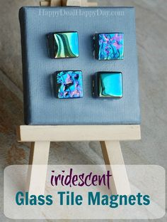 Gorgeous iridescent glass tile magnets - made with rare earth magnets for extra strength! Diy Home Decor Projects, Craft Projects, Craft Ideas, Diy Ideas, Iridescent Tile, Fun Crafts, Arts And Crafts, Spring Crafts, Homemade Gifts