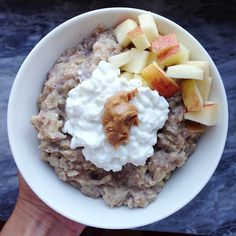 Breakie today was apple pie oatmeal with cc, pb and some more apple #Padgram