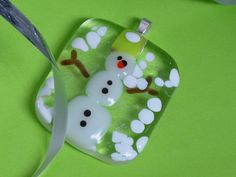 Fused glass jewelry fused glass snowman fused by glassfrommyheart. $22.00 USD, via Etsy.