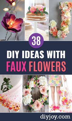 DIY Ideas With Faux Flowers - Paper Fabric Silk and Plastic Flower Crafts - Easy Arrangements Wedding Decorations Wall Decorations Letters Cheap Home Decor Plastic Flowers, Faux Flowers, Diy Flowers, Paper Flowers, Fabric Flowers, Flower Diy, Handmade Flowers, Cheap Home Decor, Diy Home Decor