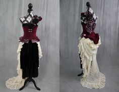 ONE OF A KIND upcycled boho burlesque steampunk bustle altenative wedding dress with maroon, lavender, black velvet, and cream lace SiZE S. $1,600.00, via Etsy.