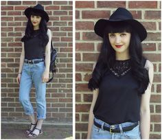 Oasap Lace Top, Levi's Jeans, Topshop Backpack