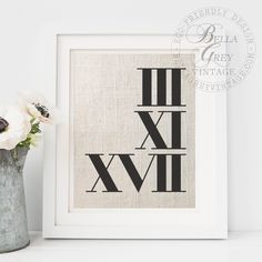 Roman Numerals Fabric Art Print Personalized with the date of your choice. Just add it into the notes to seller box at checkout and Ill convert it to roman numerals for your print.  8x10 print Frame not included Print arrives mounted to eco-friendly chipboard for ease of framing. Shown on ivory linen.  Select from your choice of three natural, eco-friendly fabrics:  ♦ Burlap 100% burlap, tightly woven with a high thread count to ensure your design is clear  ♦ Cotton 100% cotton, unbleached…
