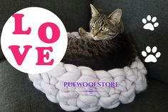 """Pufwoolstore on Instagram: """"❤️😻 #catbed #catlover #handmade #wool #merinowool #chunkywool #madewhitlove #housewarming #cat #petbed #petlover #petstagram ➡️…"""" Cat Gifts, Cat Lover Gifts, Cat Lovers, Chunky Wool, Wool Pillows, Grey Cats, Cat Furniture, Pet Beds, Fathers Day Gifts"""