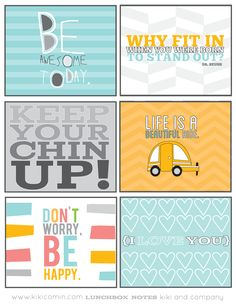 Free Lunchbox Notes from Kiki and Company why fit in when you were born to stand out? Inspirational / motivational cards to put in kids lunch